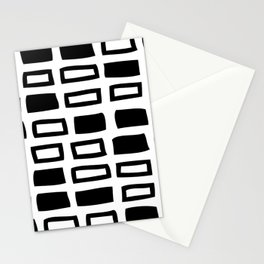 Mid Century Modern Abstract Squares Pattern 442 Black and White Stationery Cards