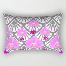 CERISE PINK ORCHID FLOWERS GREY DECO PATTERN ABSTRACT ART Rectangular Pillow