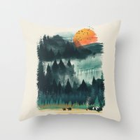 camp Throw Pillows featuring Wilderness Camp by dan elijah g. fajardo