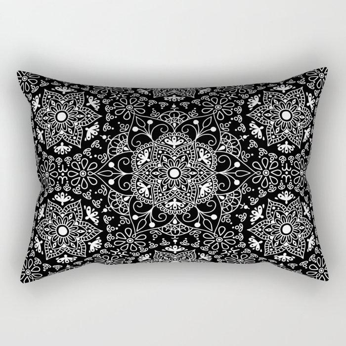 Mandala_Black and White Rectangular Pillow