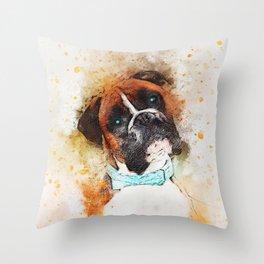 Boxer Dog Art Throw Pillow