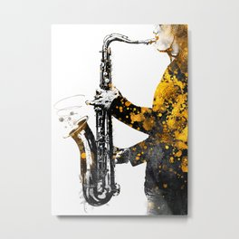 Saxophone music art gold and black #saxophone #music Metal Print