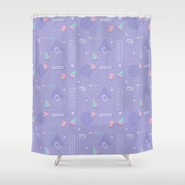 Retro geometrical lavender purple coral teal 80's pattern Shower Curtain