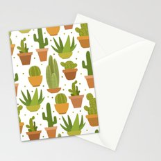 Cactuses white pattern Stationery Cards