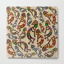 Kokopelli Rainbow Colors on Tribal Pattern  Metal Print