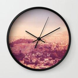 Sunset Over Athens Wall Clock