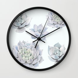 Blue Succulents Wall Clock