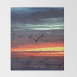 Black Gull by nite Throw Blanket