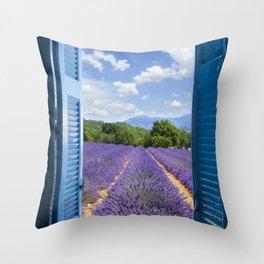 wooden shutters, lavender field Throw Pillow