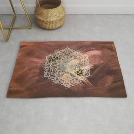 Bee Dance Mandala A - Textured Rose Gold Rug