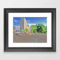 Lincoln Avenue Stop with Accented Edges Framed Art Print