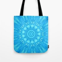 turquoise Tote Bags featuring turquoisE Mandala Expolosion by 2sweet4words Designs