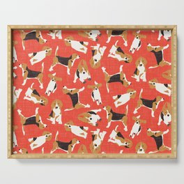 beagle scatter coral red Serving Tray