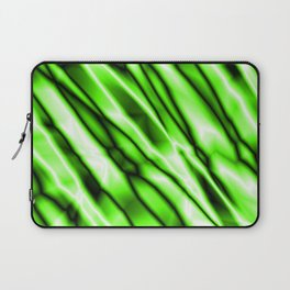 Shiny metal crooked mirror with green reflective diagonal stripes. Laptop Sleeve