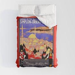 Vintage Simplon Orient Express London Constantinople Duvet Cover