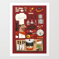 italian Art Prints featuring Italian Kitchen by Peter Donnelly Illustration