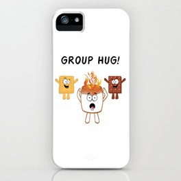 "Nice Fire Camping Shirt For Campers ""Group Hug"" T-shirt Design Marshmallow Chair Bonfire Mountains iPhone Case"
