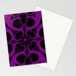 Purple Gothic Fractal Heart Pattern Stationery Cards