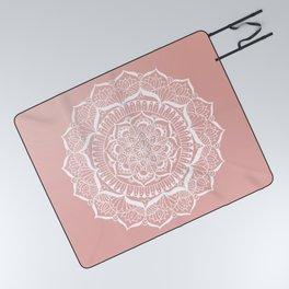 White Flower Mandala on Rose Gold Picnic Blanket