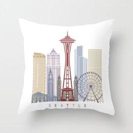 Seattle V2 skyline poster Throw Pillow