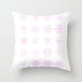 Pink Snowflakes Background Throw Pillow