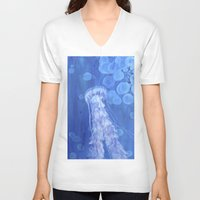 jelly fish V-neck T-shirts featuring Jelly Fish by Lise Dumas Richard