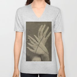 Hands in Sepia Unisex V-Neck