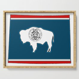 Wyoming Map with State Flag Serving Tray