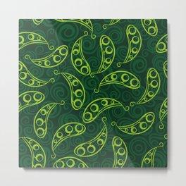 Pea pod seamless green pattern Metal Print