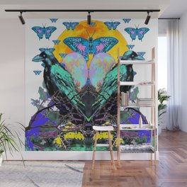 SURREAL BIRDS, BLUE BUTTERFLIES & GOLDEN MOON Wall Mural