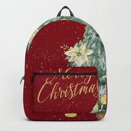 Christmas Tree Merry Christmas Red Backpack