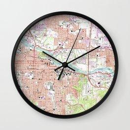 Vintage Map of Eugene Oregon (1967) Wall Clock