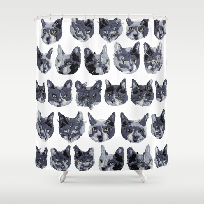 Cat Embroidery Shower Curtain