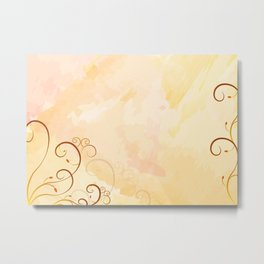 Watercolor with ornaments Metal Print
