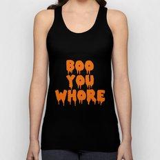 Boo You Whore Orange Halloween Horror Font Unisex Tank Top