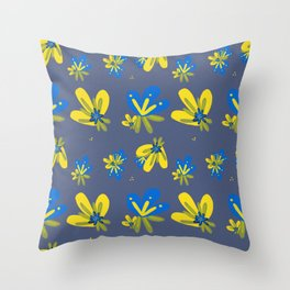 Blue and Yellow Flowers Pattern Throw Pillow