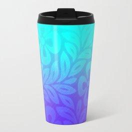Japanese Floral Pattern Violet Aqua Ombre Travel Mug