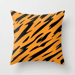 Bold and Beautiful Black and Orange Abstract Tiger Striped Pattern Throw Pillow