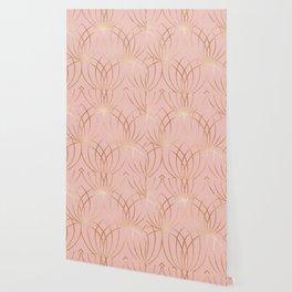 Rose gold millennial pink blooms Wallpaper