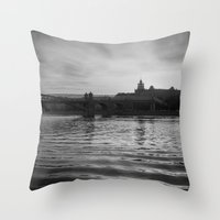 moscow Throw Pillows featuring Moscow river by MagicKucher