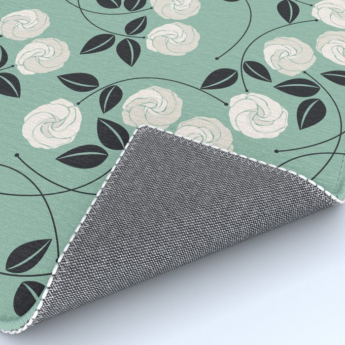 Pattern with white roses Rug
