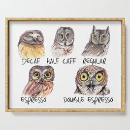 Owl Caffeine Meter -  funny owl coffee Serving Tray