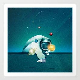 Astronaut Billards Art Print
