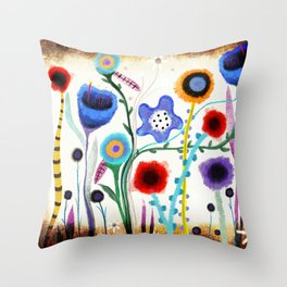 Grungy retro floral burned dusted still life Throw Pillow
