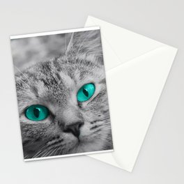 Cat with Piercing Turquoise Eyes Stationery Cards