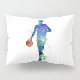 one young man basketball player dribbling silhouette in studio isolated on white background Pillow Sham