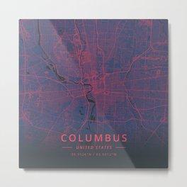 Columbus, United States - Neon Metal Print