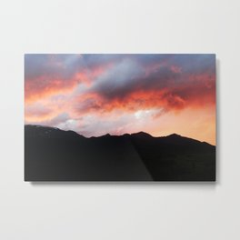 Sunset Over Mountains Metal Print