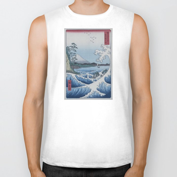 Sea Off Satta - Japanese Woodblock Print by Hiroshige Biker Tank