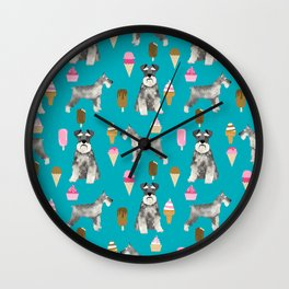 schnauzer ice cream dog breed pet pattern dog mom Wall Clock